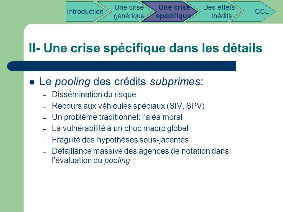 II- Une crise spécifique dans les détails Le pooling des crédits subprimes: – Dissémination du risque – Recours aux véhicules spéciaux (SIV, SPV) – Un