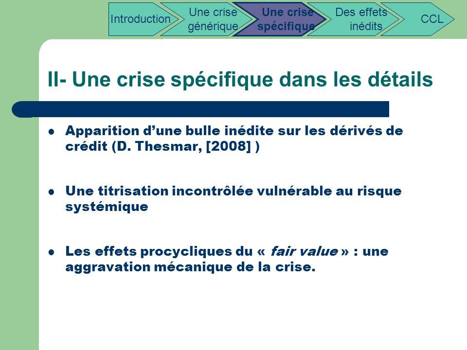 II- Une crise spécifique dans les détails Apparition dune bulle inédite sur les dérivés de crédit (D. Thesmar, [2008] ) Une titrisation incontrôlée vu