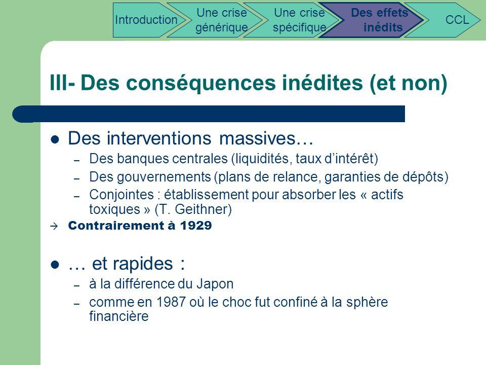 III- Des conséquences inédites (et non) Des interventions massives… – Des banques centrales (liquidités, taux dintérêt) – Des gouvernements (plans de