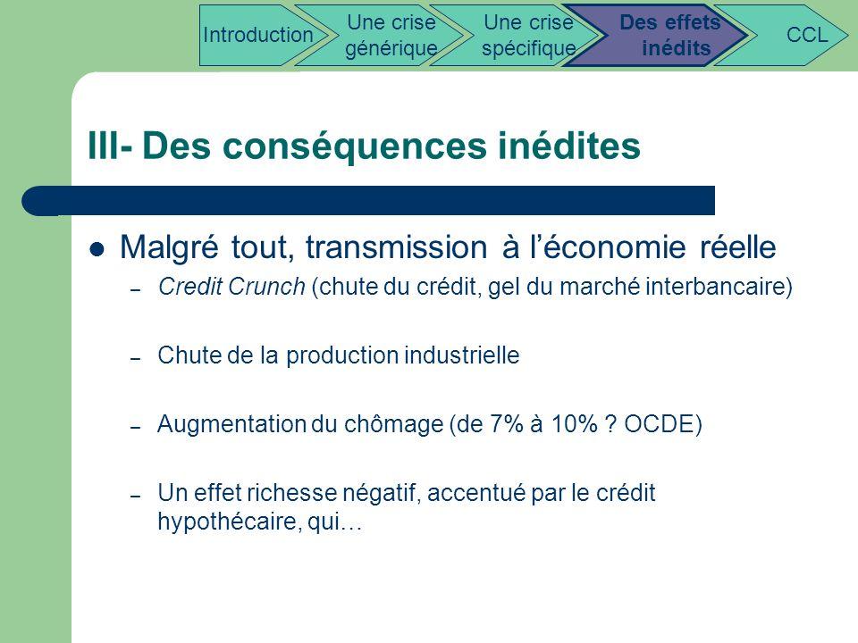III- Des conséquences inédites Malgré tout, transmission à léconomie réelle – Credit Crunch (chute du crédit, gel du marché interbancaire) – Chute de