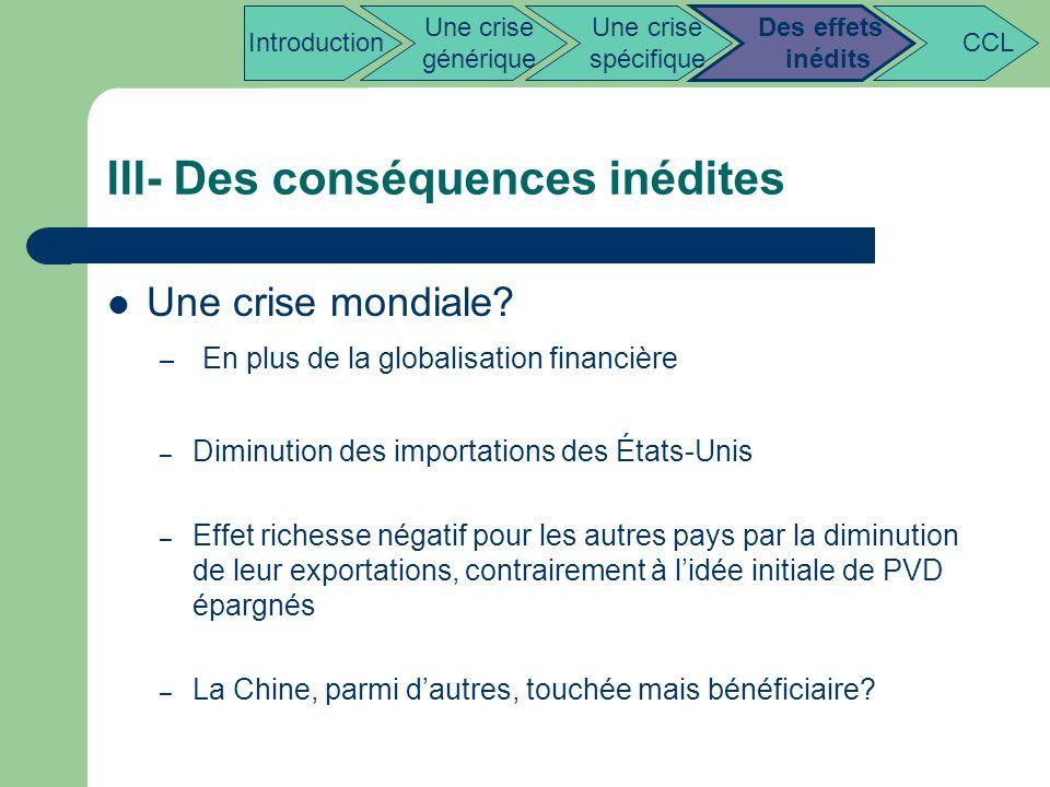 III- Des conséquences inédites Une crise mondiale? – En plus de la globalisation financière – Diminution des importations des États-Unis – Effet riche