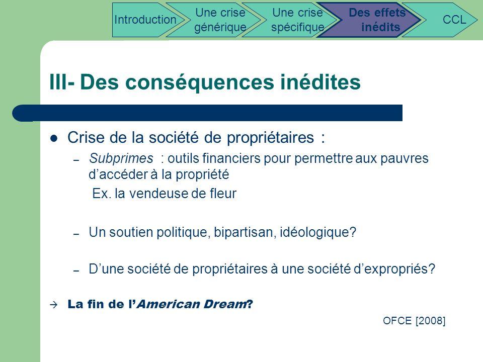 III- Des conséquences inédites Crise de la société de propriétaires : – Subprimes : outils financiers pour permettre aux pauvres daccéder à la proprié