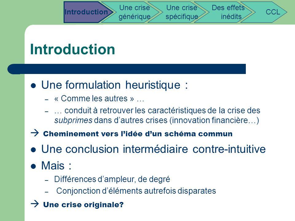 Introduction Une formulation heuristique : – « Comme les autres » … – … conduit à retrouver les caractéristiques de la crise des subprimes dans dautre