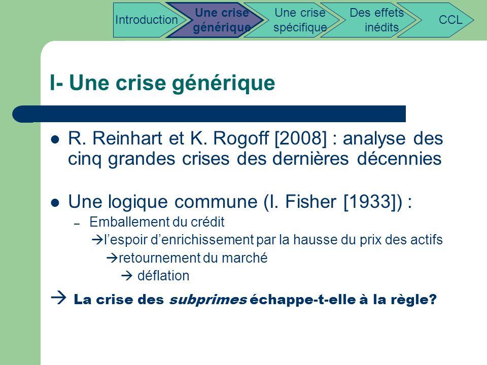 I- Une crise générique R. Reinhart et K. Rogoff [2008] : analyse des cinq grandes crises des dernières décennies Une logique commune (I. Fisher [1933]