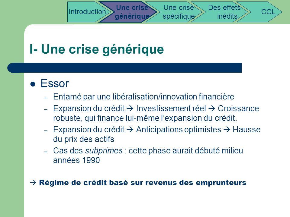 I- Une crise générique Essor – Entamé par une libéralisation/innovation financière – Expansion du crédit Investissement réel Croissance robuste, qui f
