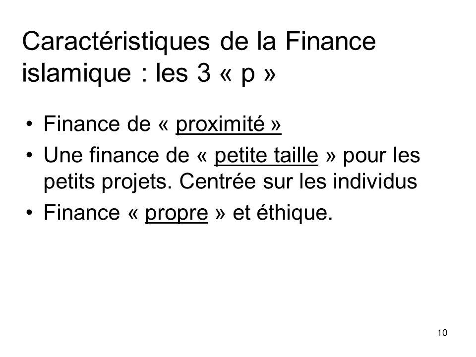 10 Finance de « proximité » Une finance de « petite taille » pour les petits projets. Centrée sur les individus Finance « propre » et éthique. Caracté