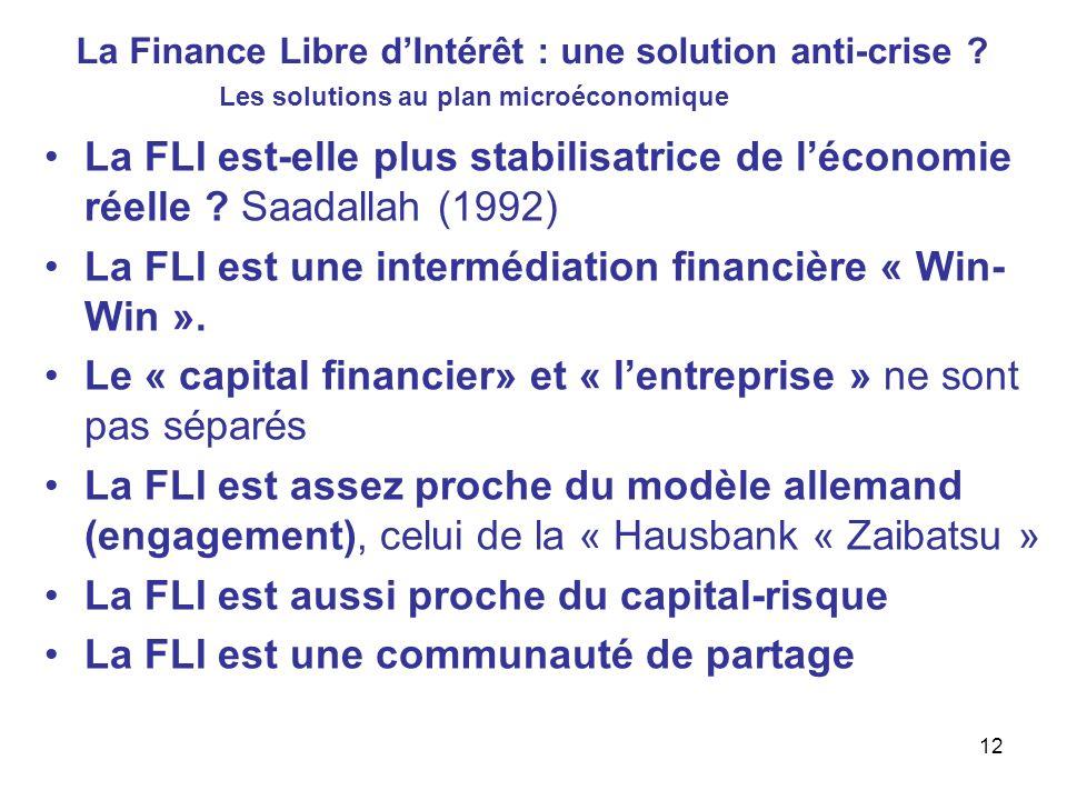La Finance Libre dIntérêt : une solution anti-crise ? La FLI est-elle plus stabilisatrice de léconomie réelle ? Saadallah (1992) La FLI est une interm