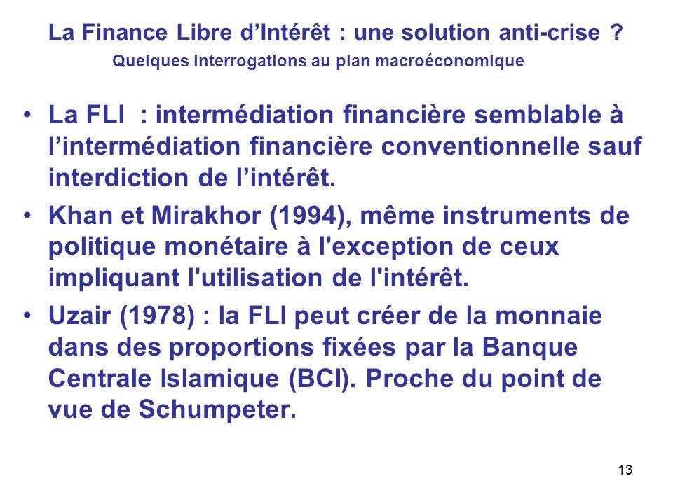 La Finance Libre dIntérêt : une solution anti-crise ? La FLI : intermédiation financière semblable à lintermédiation financière conventionnelle sauf i