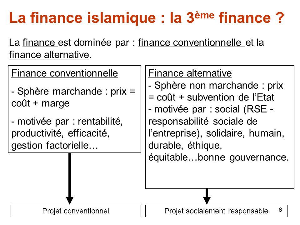 6 La finance islamique : la 3 ème finance ? La finance est dominée par : finance conventionnelle et la finance alternative. Finance conventionnelle -