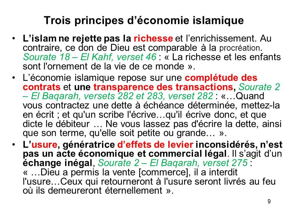 9 Trois principes déconomie islamique Lislam ne rejette pas la richesse et lenrichissement. Au contraire, ce don de Dieu est comparable à la procréati