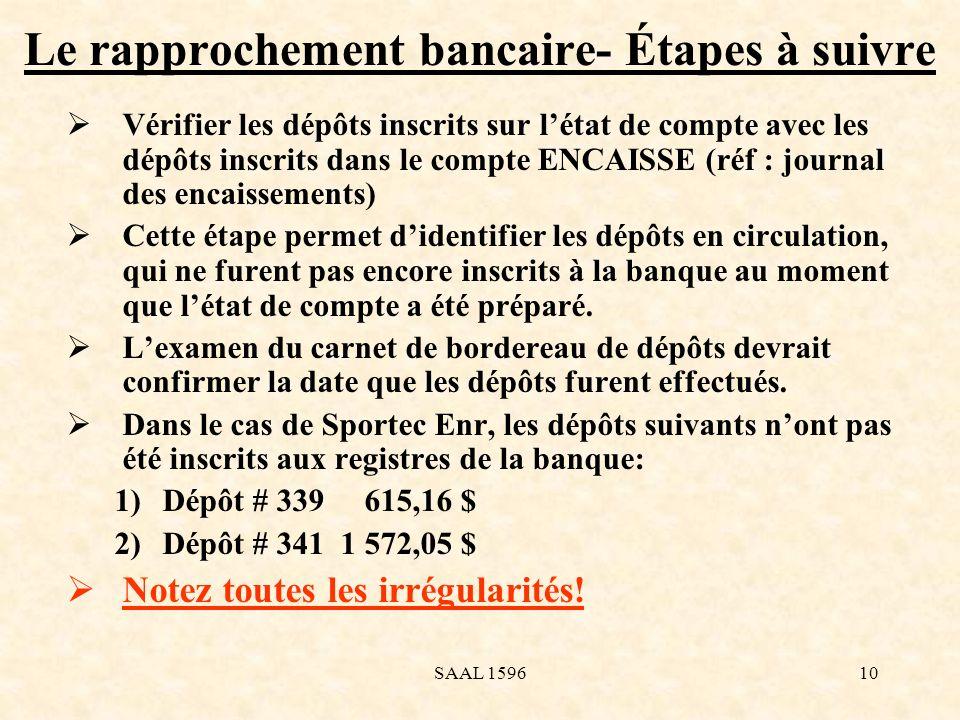 Le rapprochement bancaire- Étapes à suivre Vérifier les dépôts inscrits sur létat de compte avec les dépôts inscrits dans le compte ENCAISSE (réf : jo