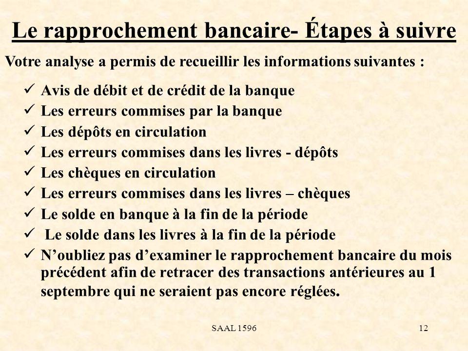 Le rapprochement bancaire- Étapes à suivre Selon les informations recueillies à la diapositive précédente, vous pouvez maintenant préparer le rapprochement bancaire.