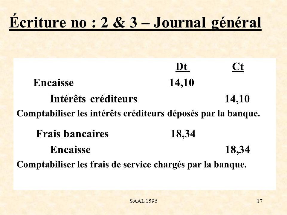 Écriture no : 2 & 3 – Journal général Dt Ct Encaisse 14,10 Intérêts créditeurs 14,10 Comptabiliser les intérêts créditeurs déposés par la banque. Frai