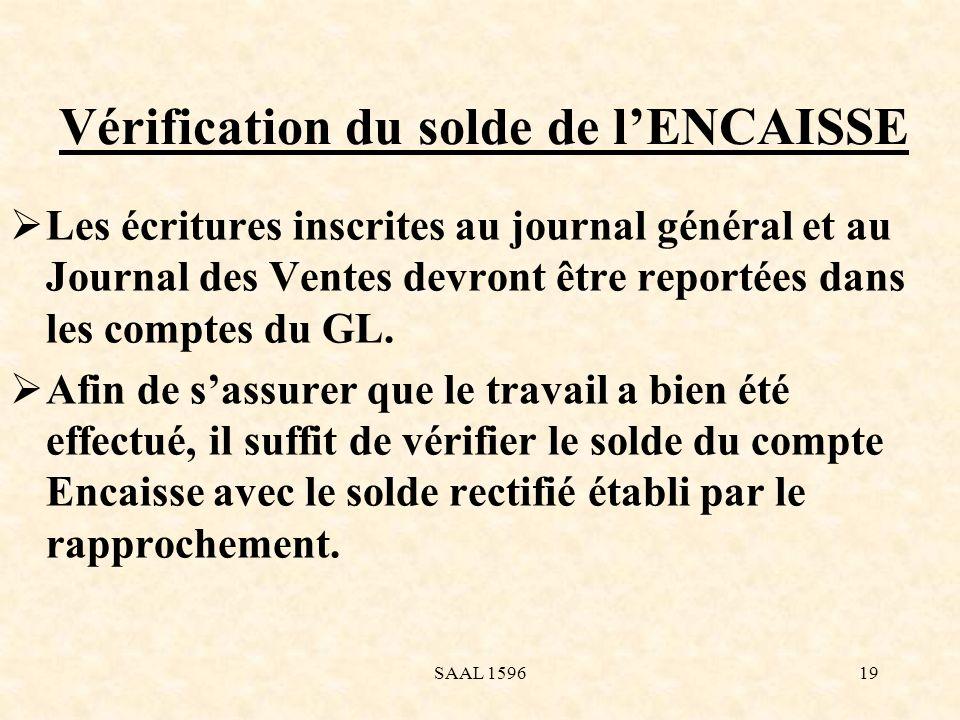 Vérification du solde de lENCAISSE Les écritures inscrites au journal général et au Journal des Ventes devront être reportées dans les comptes du GL.