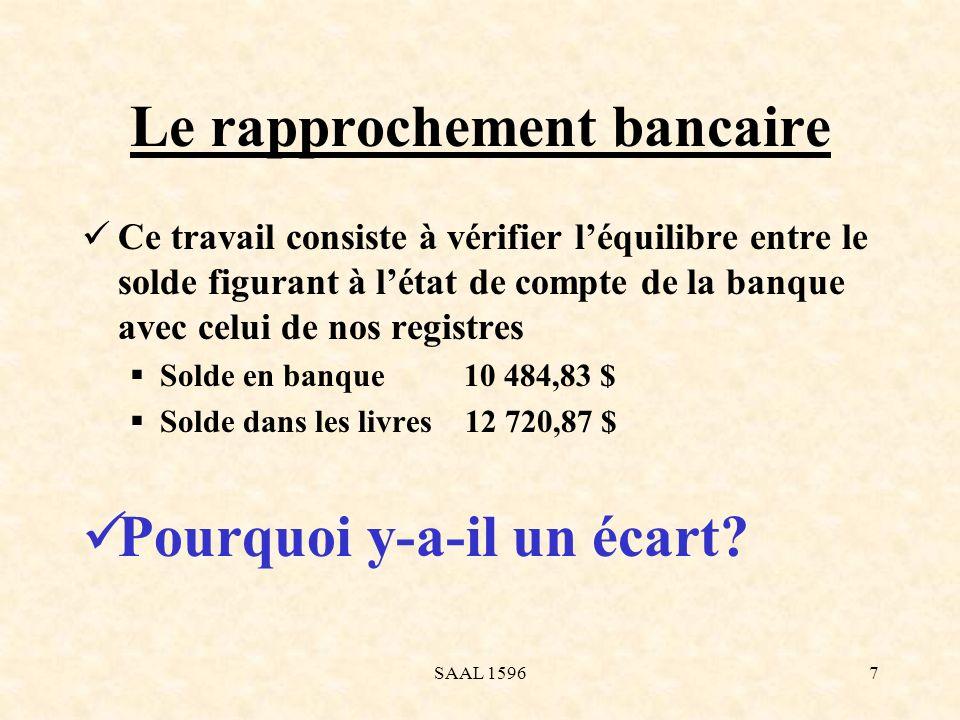 Le rapprochement bancaire Ce travail consiste à vérifier léquilibre entre le solde figurant à létat de compte de la banque avec celui de nos registres