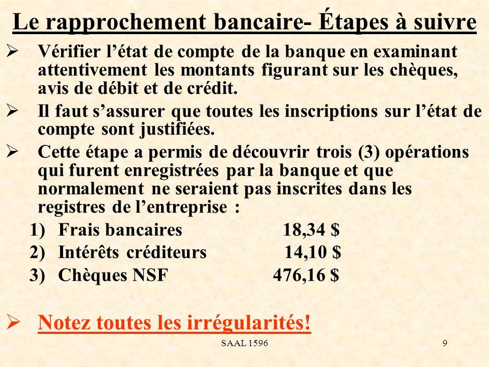 Le rapprochement bancaire- Étapes à suivre Vérifier létat de compte de la banque en examinant attentivement les montants figurant sur les chèques, avi
