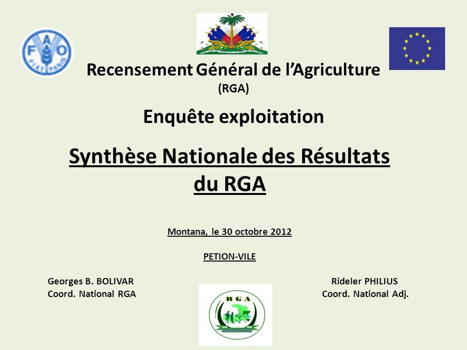 Recensement Général de lAgriculture (RGA) Synthèse Nationale des Résultats du RGA Montana, le 30 octobre 2012 PETION-VILE Georges B. BOLIVAR Rideler P