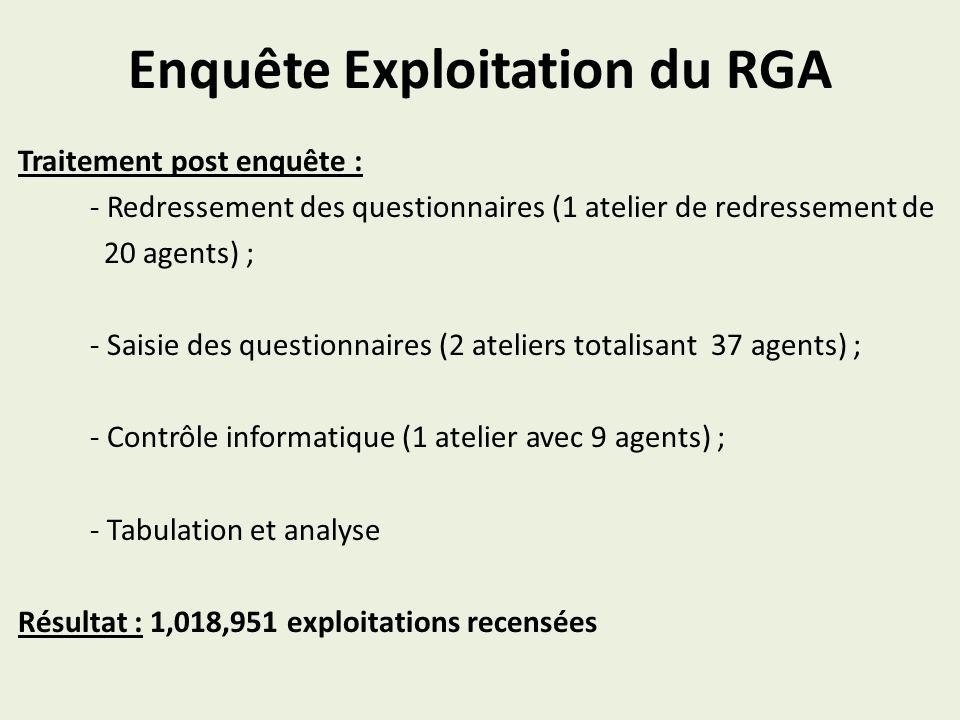 Enquête Exploitation du RGA Traitement post enquête : - Redressement des questionnaires (1 atelier de redressement de 20 agents) ; - Saisie des questi