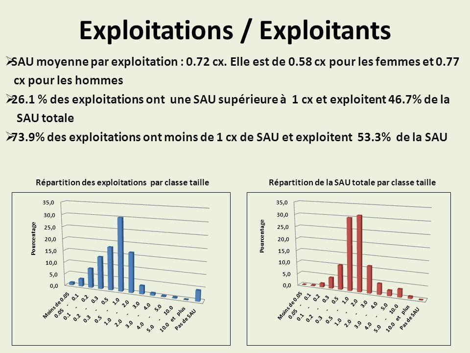 Exploitations / Exploitants SAU moyenne par exploitation : 0.72 cx. Elle est de 0.58 cx pour les femmes et 0.77 cx pour les hommes 26.1 % des exploita