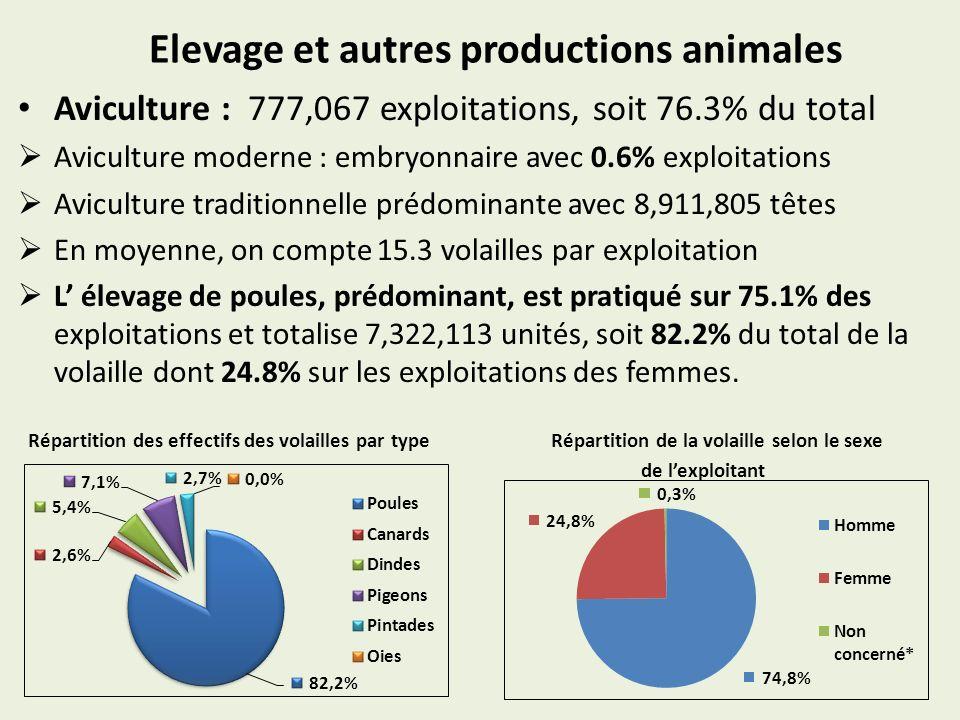 Elevage et autres productions animales Aviculture : 777,067 exploitations, soit 76.3% du total Aviculture moderne : embryonnaire avec 0.6% exploitatio