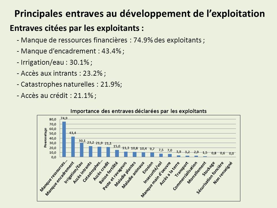 Principales entraves au développement de lexploitation Entraves citées par les exploitants : - Manque de ressources financières : 74.9% des exploitant