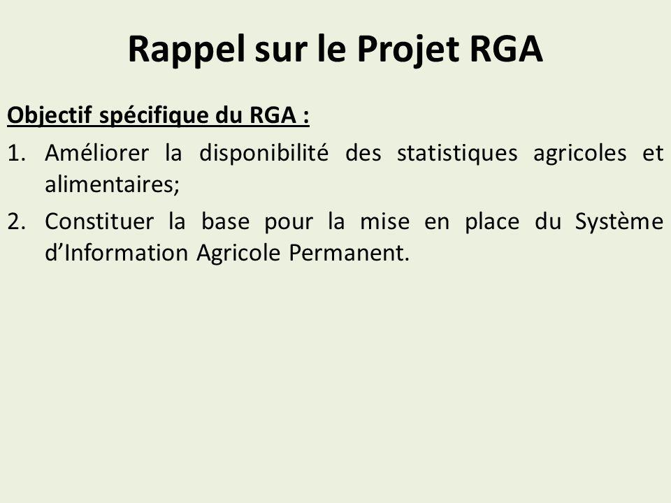 Rappel sur le Projet RGA Objectif spécifique du RGA : 1.Améliorer la disponibilité des statistiques agricoles et alimentaires; 2.Constituer la base po