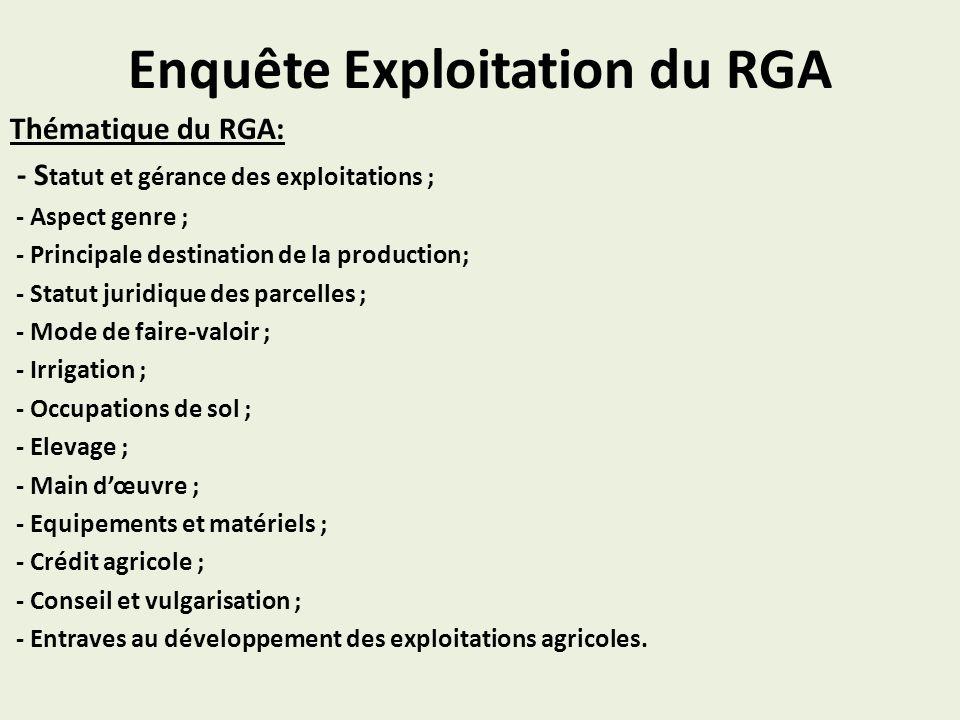 Enquête Exploitation du RGA Thématique du RGA: - S tatut et gérance des exploitations ; - Aspect genre ; - Principale destination de la production; -