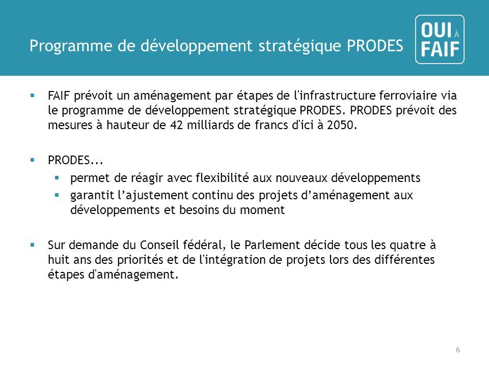 Programme de développement stratégique PRODES FAIF prévoit un aménagement par étapes de l infrastructure ferroviaire via le programme de développement stratégique PRODES.