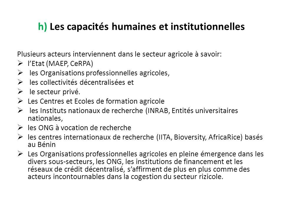 h) Les capacités humaines et institutionnelles Plusieurs acteurs interviennent dans le secteur agricole à savoir: lEtat (MAEP, CeRPA) les Organisation