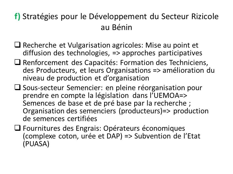 f) Stratégies pour le Développement du Secteur Rizicole au Bénin Recherche et Vulgarisation agricoles: Mise au point et diffusion des technologies, =>