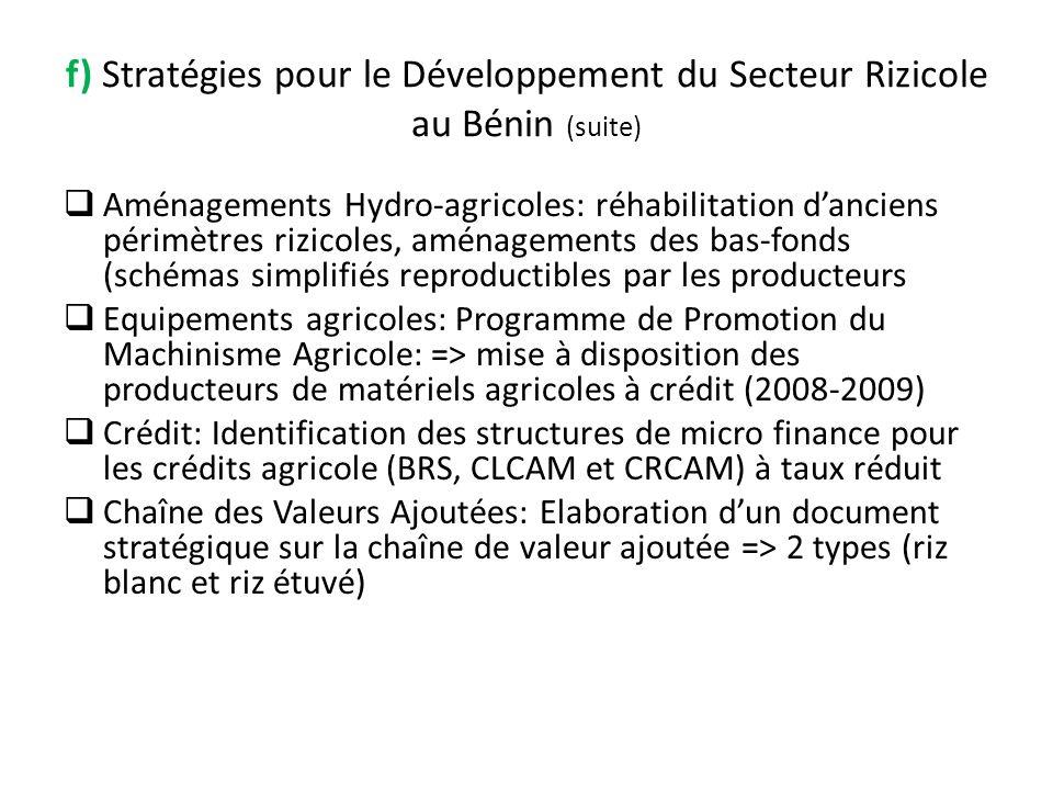 f) Stratégies pour le Développement du Secteur Rizicole au Bénin (suite) Aménagements Hydro-agricoles: réhabilitation danciens périmètres rizicoles, a