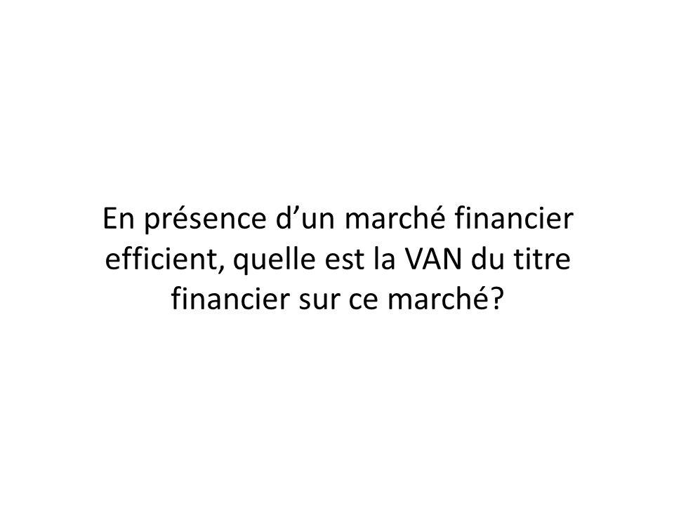 En présence dun marché financier efficient, quelle est la VAN du titre financier sur ce marché?