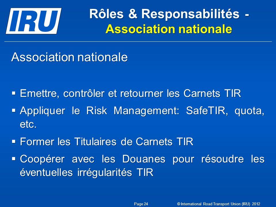 Rôles & Responsabilités - Association nationale Association nationale Emettre, contrôler et retourner les Carnets TIR Emettre, contrôler et retourner les Carnets TIR Appliquer le Risk Management: SafeTIR, quota, etc.