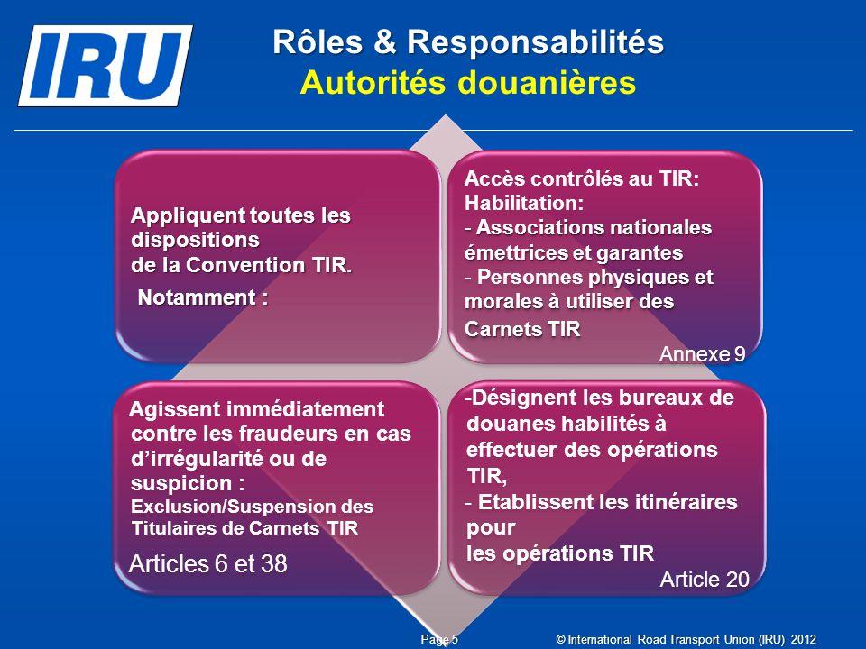Rôles & Responsabilités Rôles & Responsabilités Autorités douanières Appliquent toutes les dispositions de la Convention TIR.