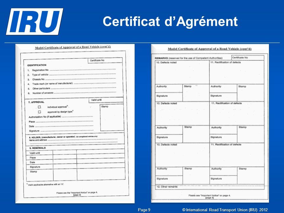 Page 10 © International Road Transport Union (IRU) 2012