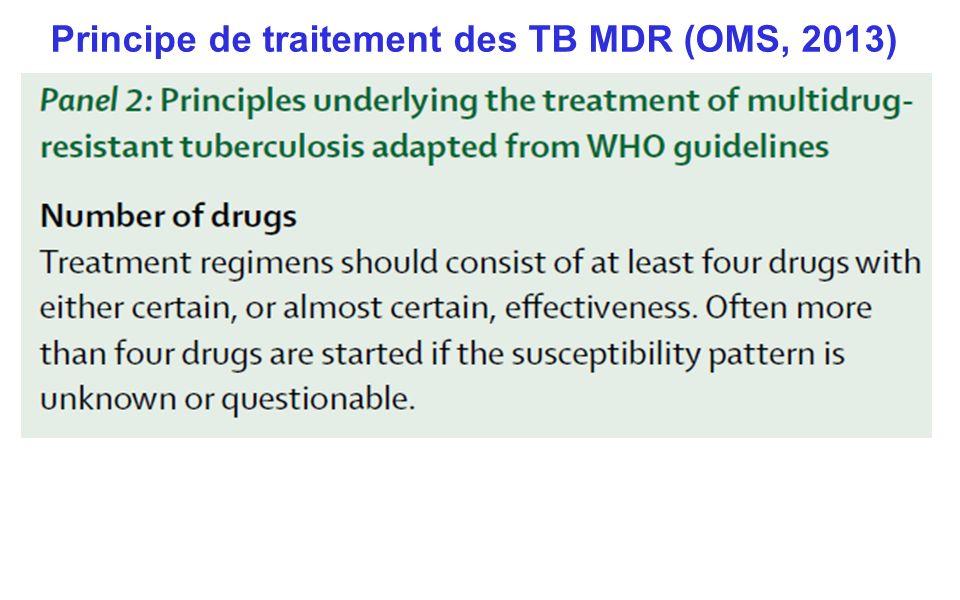 Principe de traitement des TB MDR (OMS, 2013)