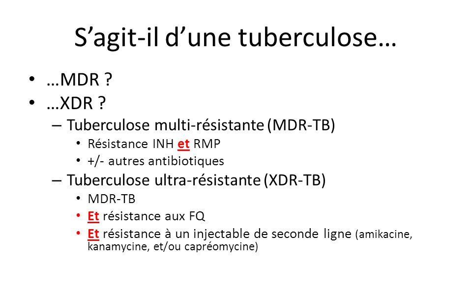 Sagit-il dune tuberculose… …MDR .…XDR .