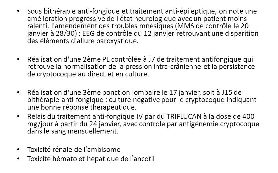 Sous bithérapie anti-fongique et traitement anti-épileptique, on note une amélioration progressive de l état neurologique avec un patient moins ralenti, l amendement des troubles mnésiques (MMS de contrôle le 20 janvier à 28/30) ; EEG de contrôle du 12 janvier retrouvant une disparition des éléments d allure paroxystique.