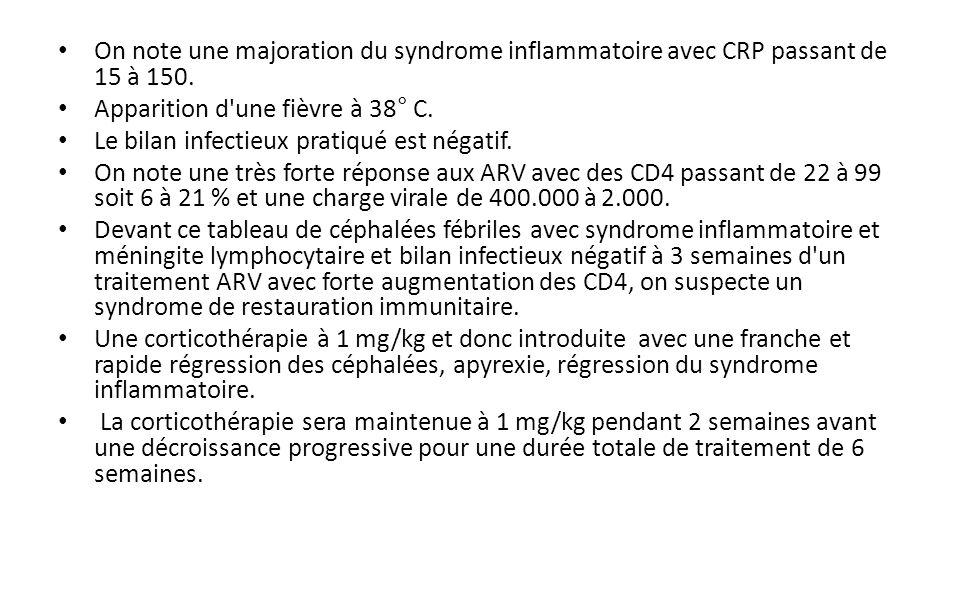 On note une majoration du syndrome inflammatoire avec CRP passant de 15 à 150.