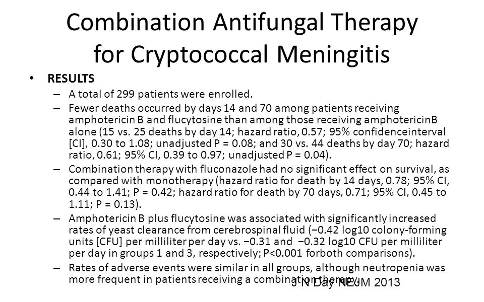 Combination Antifungal Therapy for Cryptococcal Meningitis RESULTS – A total of 299 patients were enrolled.