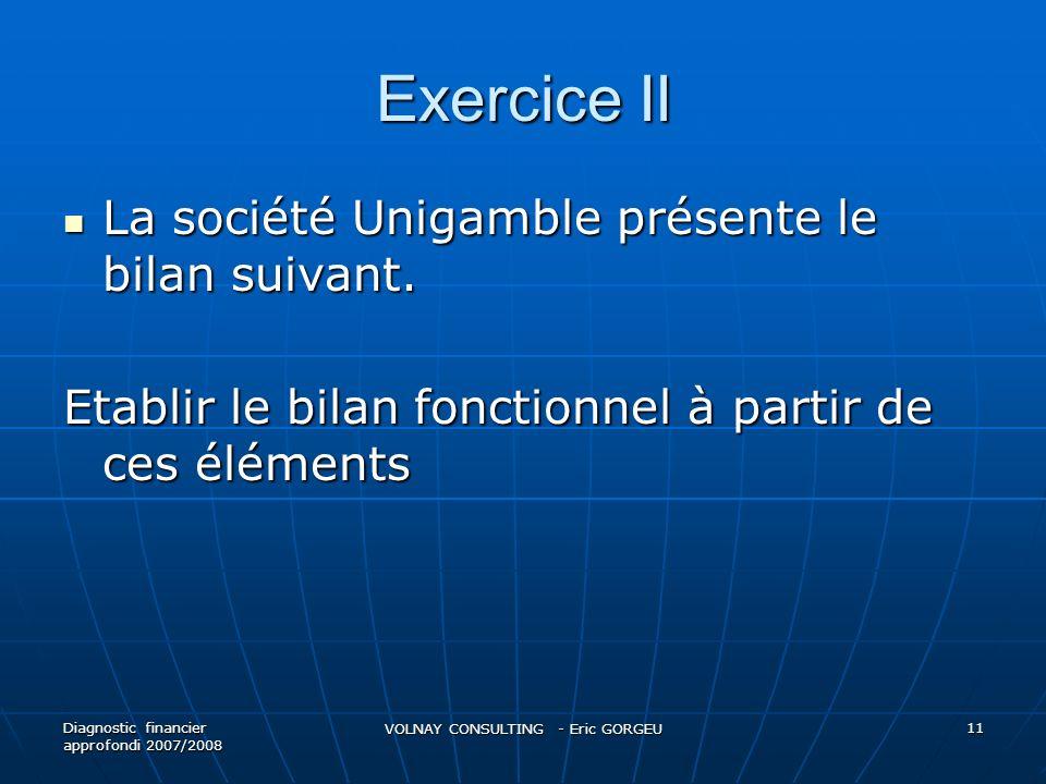 Exercice II La société Unigamble présente le bilan suivant. La société Unigamble présente le bilan suivant. Etablir le bilan fonctionnel à partir de c
