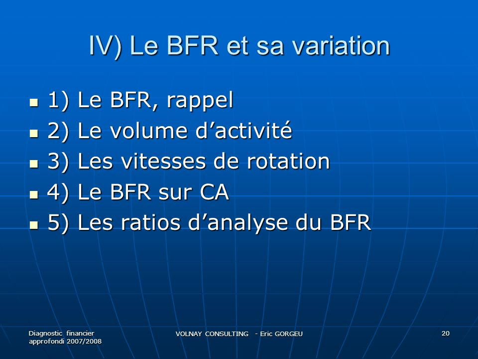 IV) Le BFR et sa variation 1) Le BFR, rappel 1) Le BFR, rappel 2) Le volume dactivité 2) Le volume dactivité 3) Les vitesses de rotation 3) Les vitess