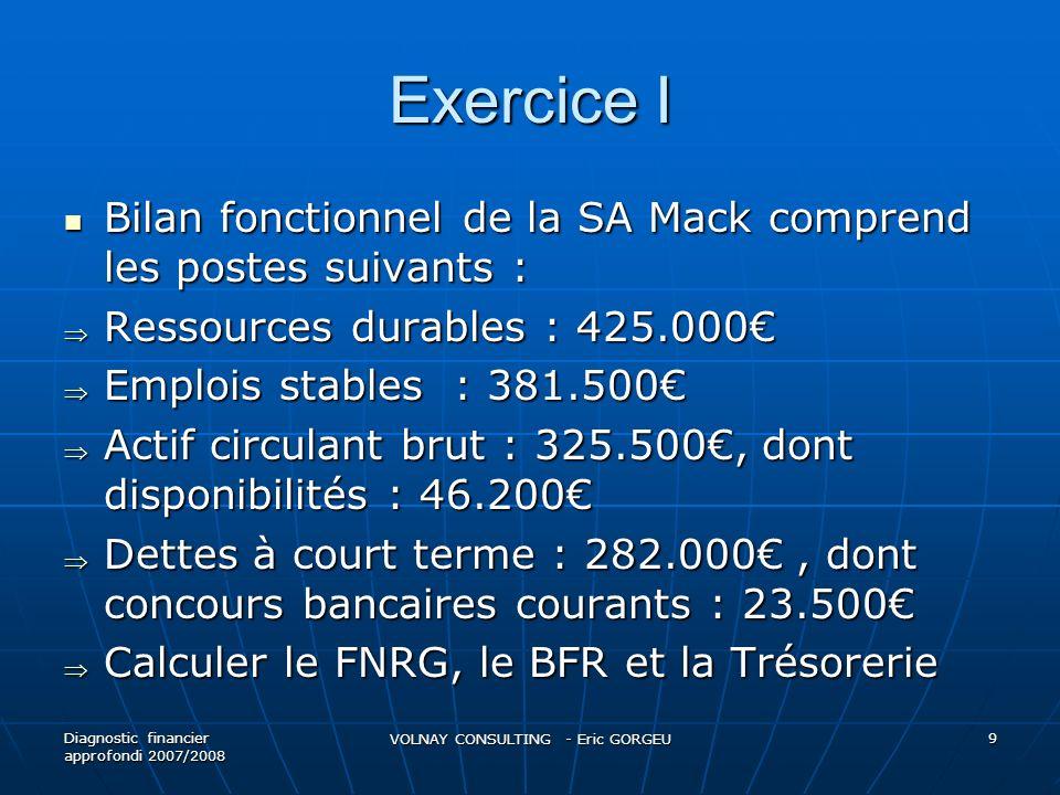 Exercice I Bilan fonctionnel de la SA Mack comprend les postes suivants : Bilan fonctionnel de la SA Mack comprend les postes suivants : Ressources du
