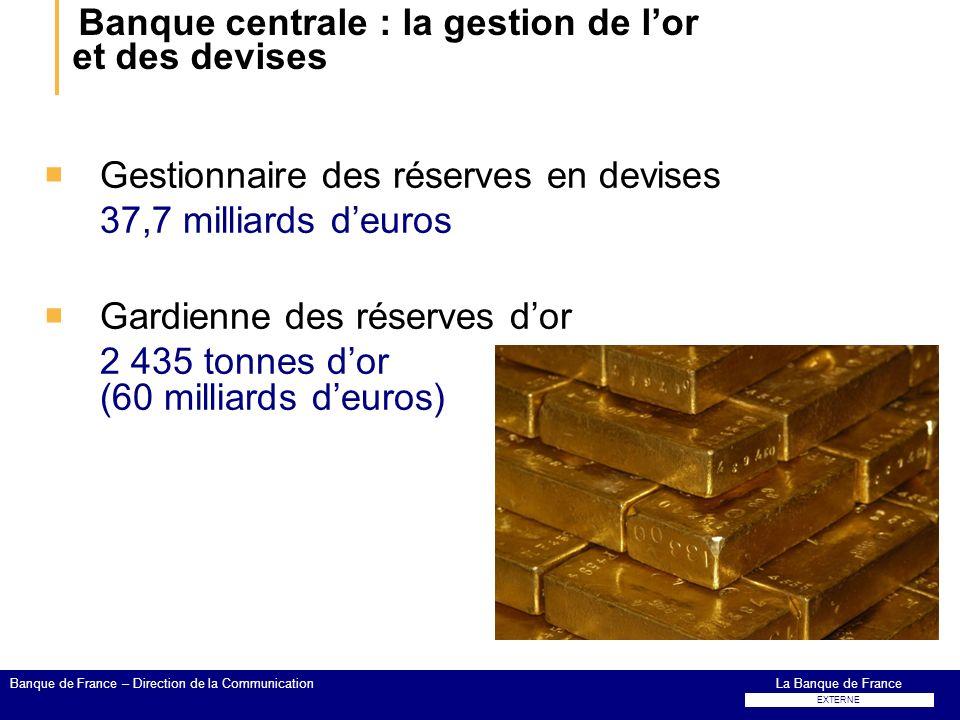 Banque centrale : la gestion de lor et des devises Gestionnaire des réserves en devises 37,7 milliards deuros Gardienne des réserves dor 2 435 tonnes