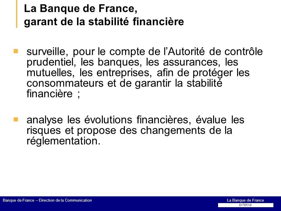 La Banque de France, garant de la stabilité financière surveille, pour le compte de lAutorité de contrôle prudentiel, les banques, les assurances, les