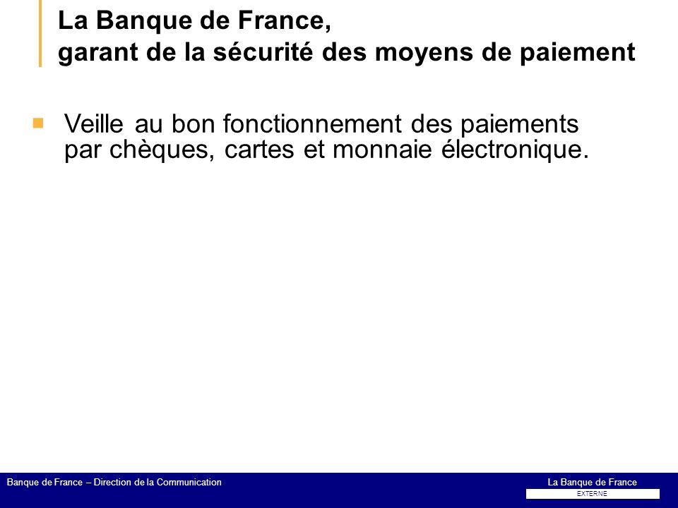 La Banque de France, garant de la sécurité des moyens de paiement Veille au bon fonctionnement des paiements par chèques, cartes et monnaie électroniq