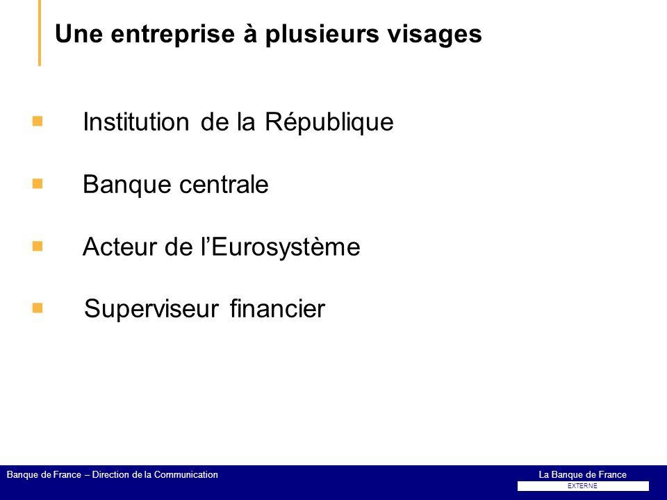Une entreprise à plusieurs visages Institution de la République Banque centrale Acteur de lEurosystème Superviseur financier La Banque de FranceBanque