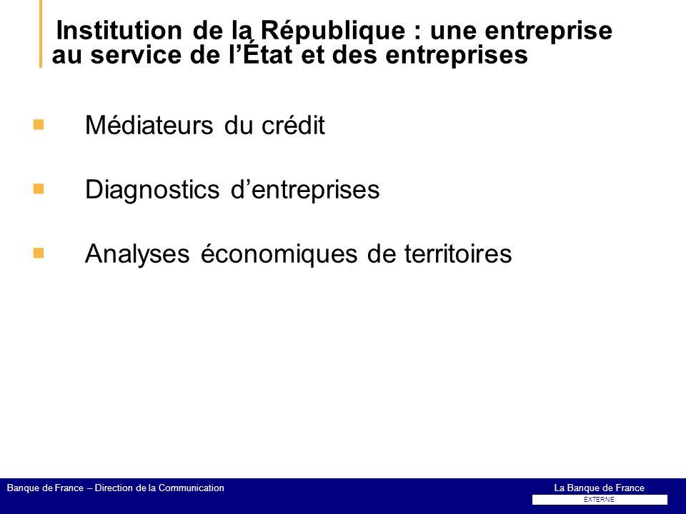 Institution de la République : une entreprise au service de lÉtat et des entreprises Médiateurs du crédit Diagnostics dentreprises Analyses économique