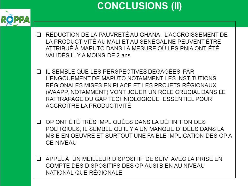 CONCLUSIONS (II) RÉDUCTION DE LA PAUVRETÉ AU GHANA, LACCROISSEMENT DE LA PRODUCTIVITÉ AU MALI ET AU SENÉGAL NE PEUVENT ÊTRE ATTRIBUÉ À MAPUTO DANS LA