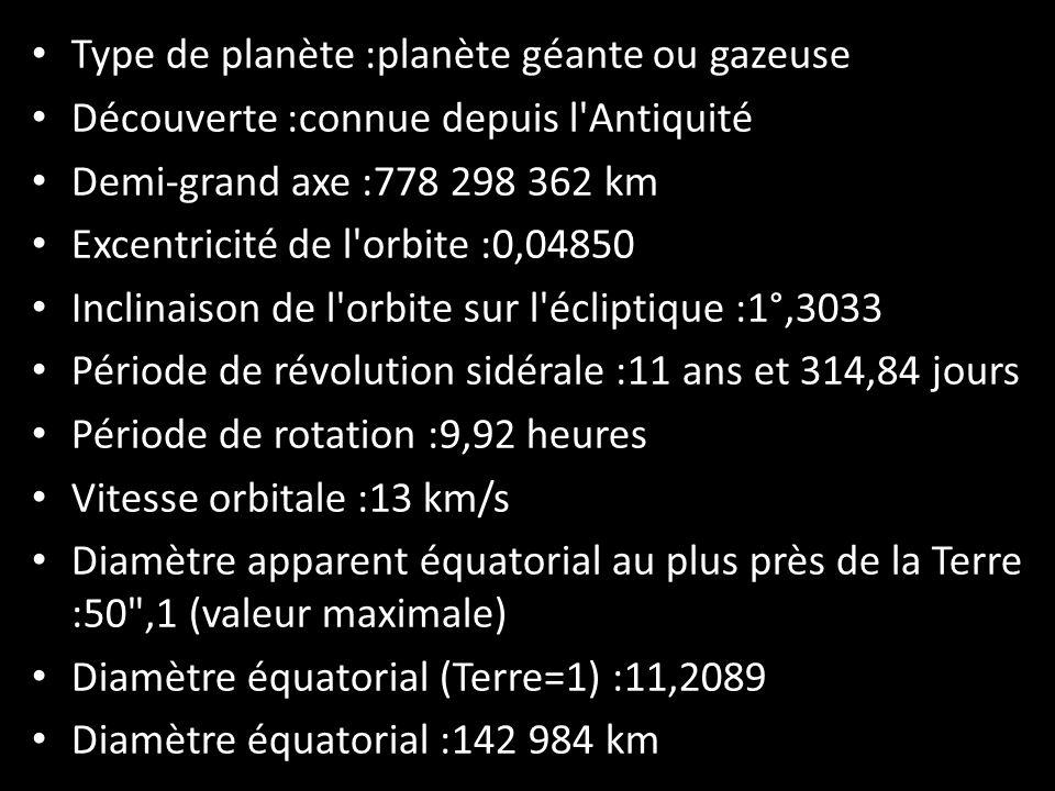Type de planète :planète géante ou gazeuse Découverte :connue depuis l'Antiquité Demi-grand axe :778 298 362 km Excentricité de l'orbite :0,04850 Incl